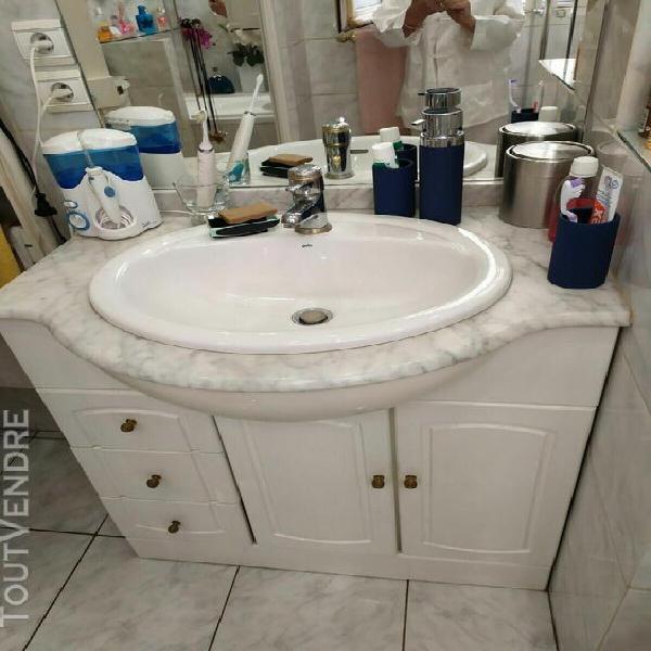 meuble salle de bains marbre + plan marbre + vasque + robine