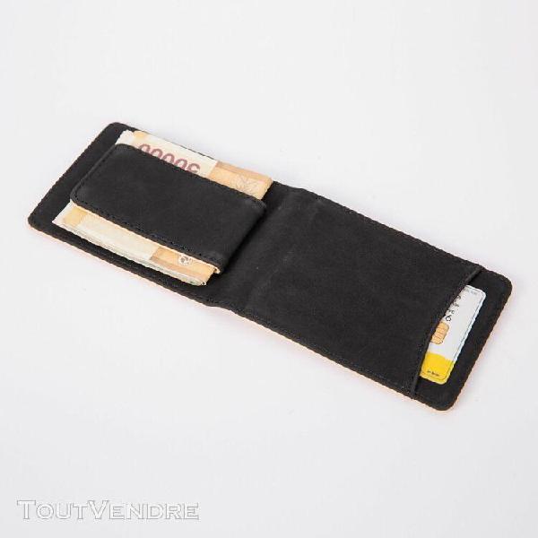Mini aimant carte de portefeuille en cuir porte-monnaie port
