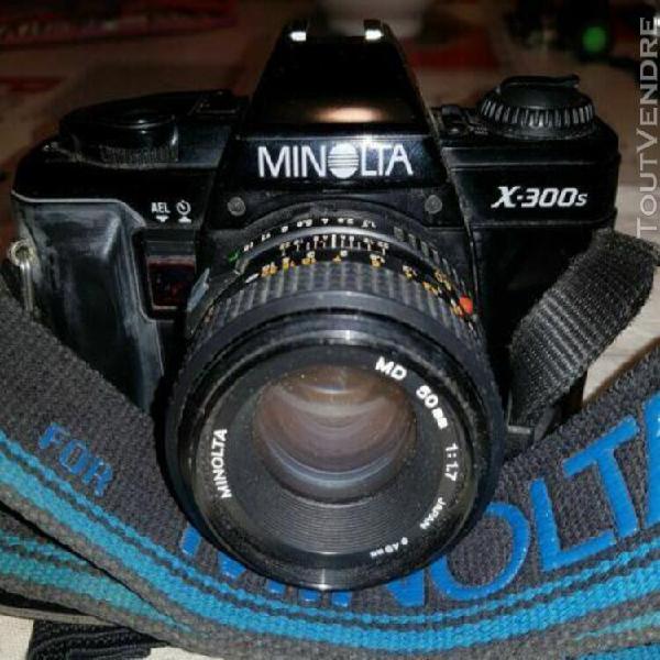 Appareil photo reflex argentique vintage minolta x-300s 50mm