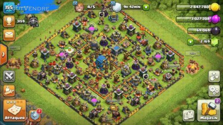 Clash of clan,compte hdv12 heros: 40/58/25