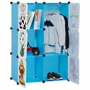 Langria armoire penderie 6 cubes avec portes avec dessins