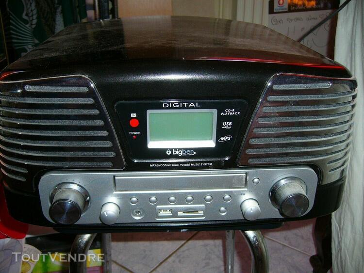 """lecteur cd /vinyl /radio am/fm encodeur usb /sd """"big ben"""""""