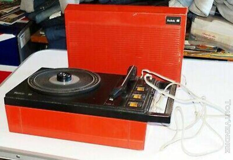 tourne-disques platine portable vintage orange rouge radiol