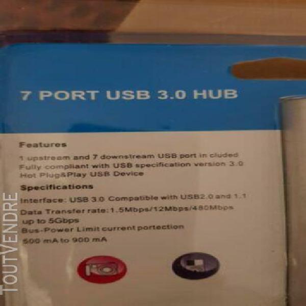Usb 3.0 hub7 port alimenté haute vitesse splitter extenseur