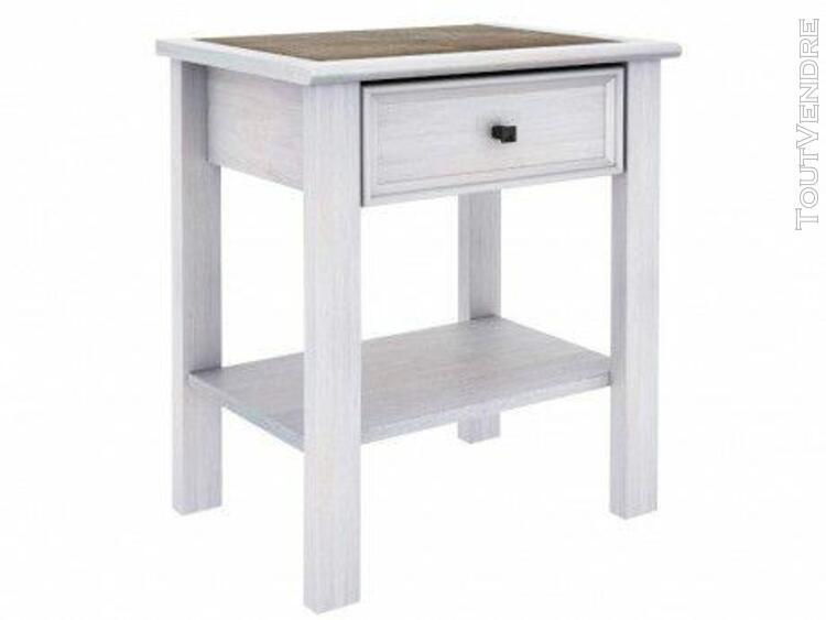 Chevet maelis - 1 tiroir - finition chêne blanchi et