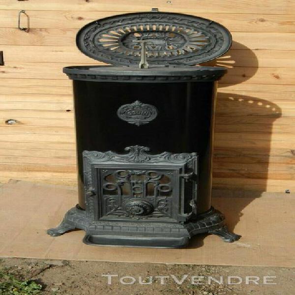 poêle à bois godin 3727 grand ovale anthracite et noir