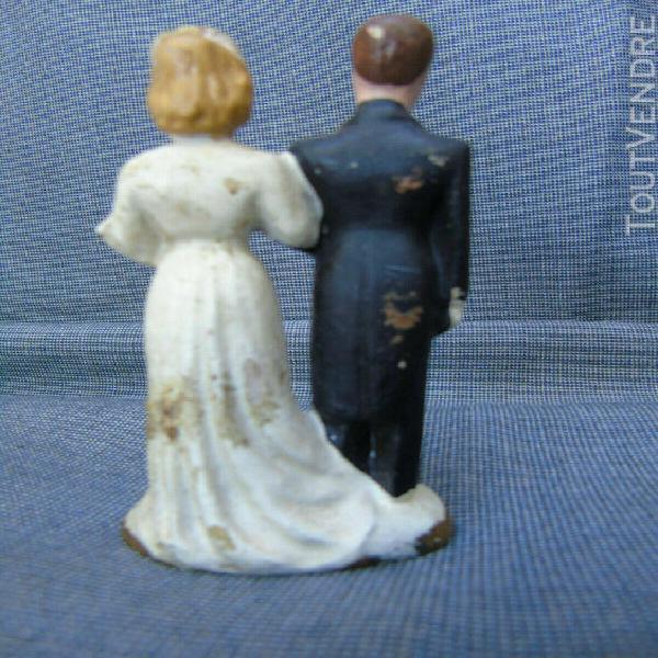 rare circa 1930 couple de maries en ceramique peint a la mai