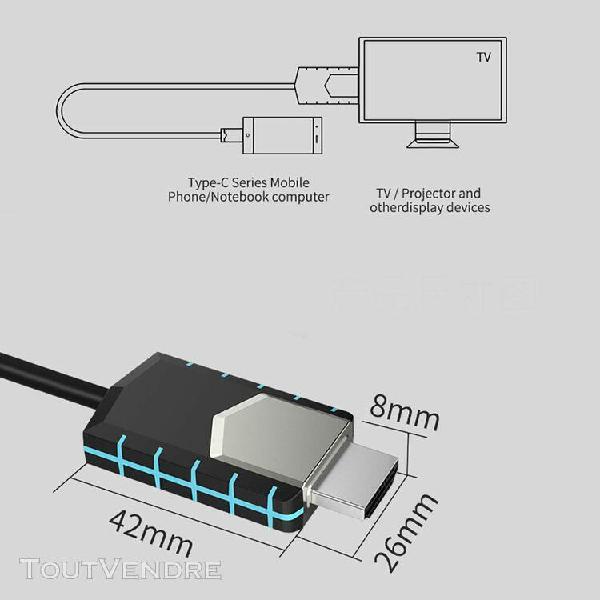 4k usb type c à hdmi hdtv av tv câble adaptateur pour