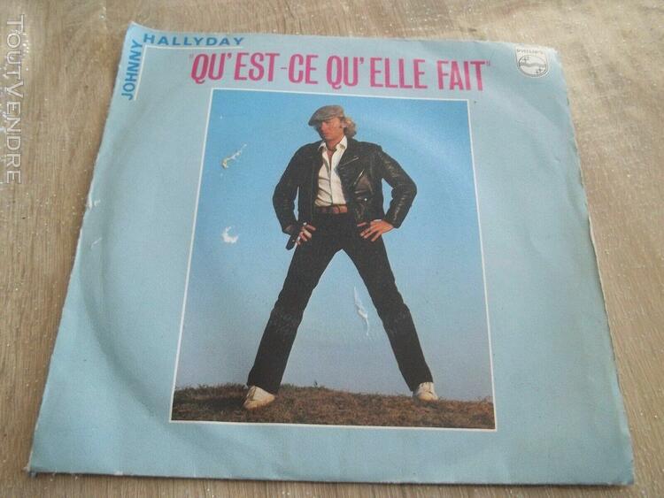 disque vinyl 45t johnny hallyday -qu est ce qu elle fait-ann