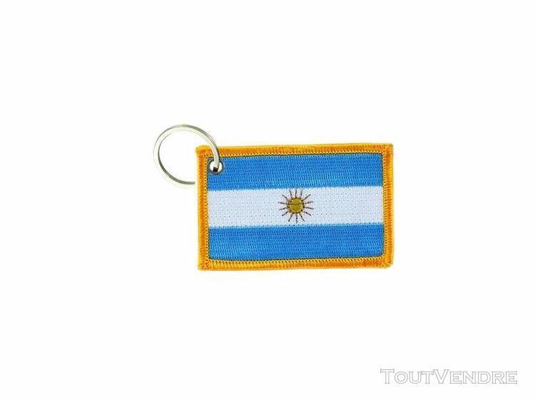 Porte cle cles clef brode patch ecusson badge drapeau argent