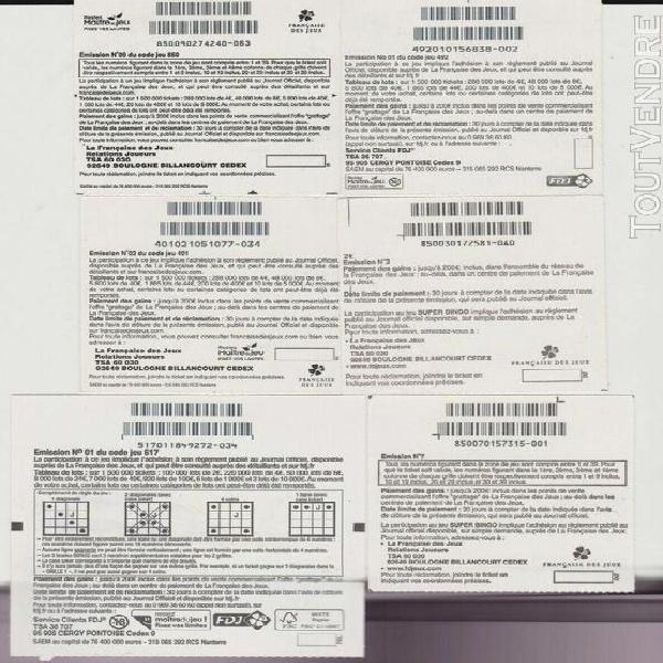 "Ticket collection grattage: jeu "" bingo "" lot 6 tickets div"