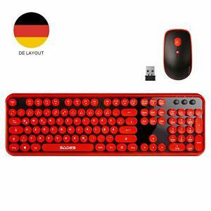 Clavier sans fil allemand sades v2020, tastatur maus qwertz