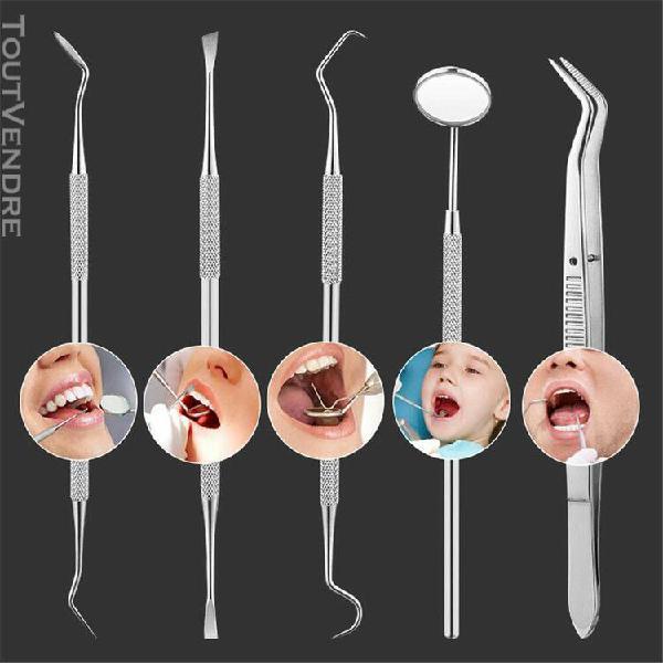 5pcs en hygiène dentaire dent acier inoxydable kit racloir