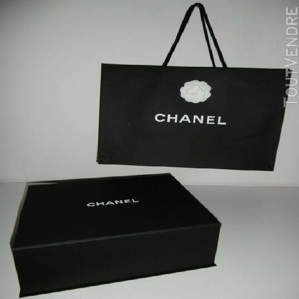 boite cartonnée magnétique noire chanel + long ruban +