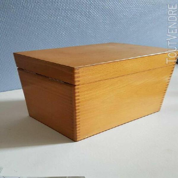 boîte en bois verni vintage, rangement de fiches 3