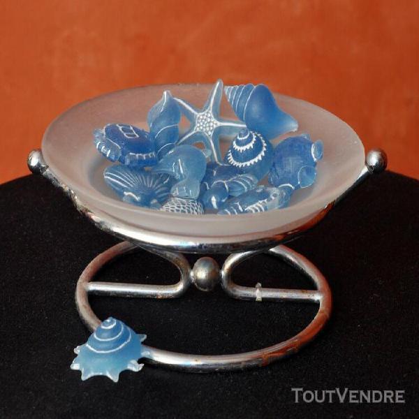 coupelle en verre avec elements decoratifs mer coquillage da