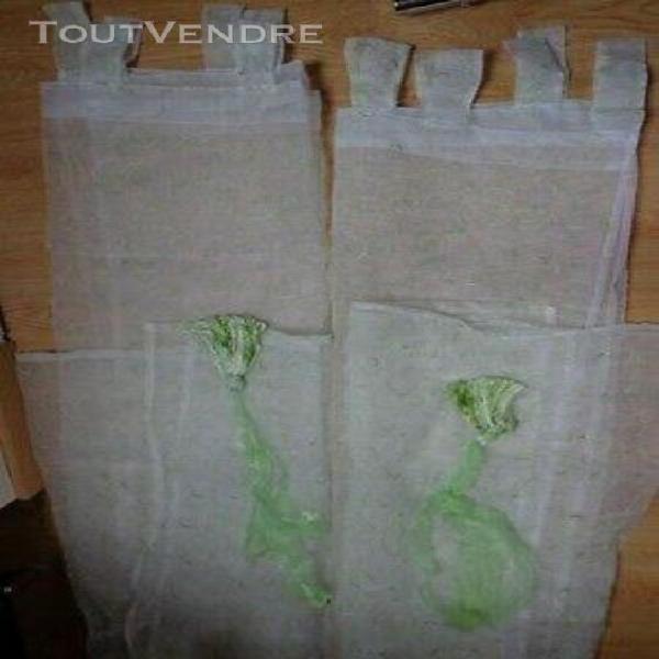 double rideaux voile blanc et vert + ambrasse verte (hauteur