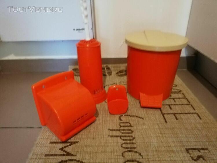 ensemble toilette wc années 70 orange