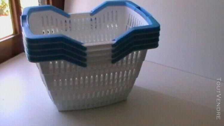 lot 4 panières plastique avec anse empilable