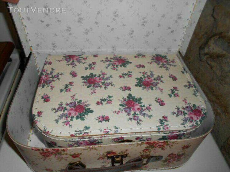 lot de 2 valises boites de rangement sass § belle motif