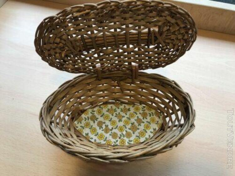 panier en osier / boite à bijoux / avec couvercle / vintage