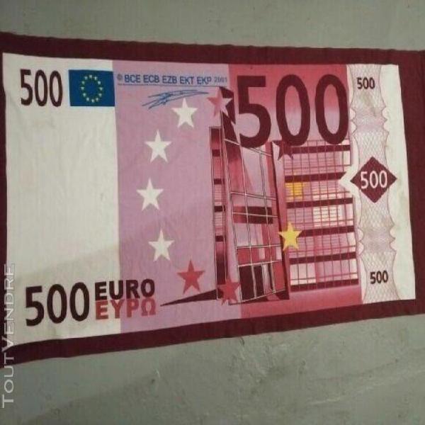 serviette de plage - motif billet 500 euros - etat parfait