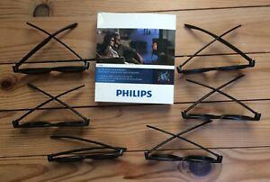 6 paires de lunettes 3d philips tv - pta 468 - neuves dans