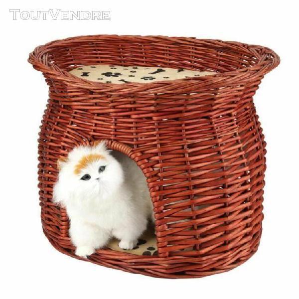 Lit douillet pour chat chien panier maison de couchage osier