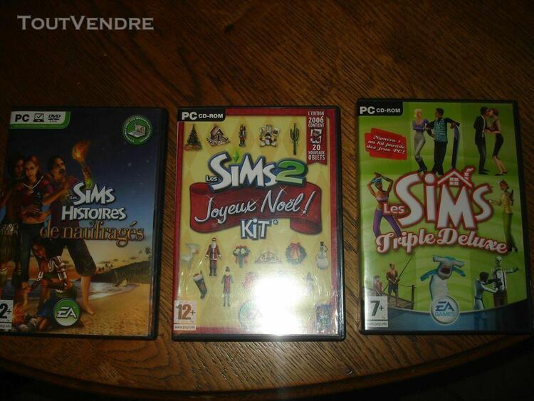 Lot 3 jeux pc les sims triple de luxe joyeux noel histoires