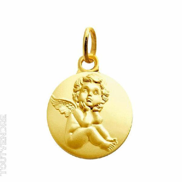 Médaille ronde ange raphaël pensif en plaqué or