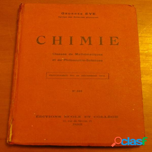 Chimie, georges eve