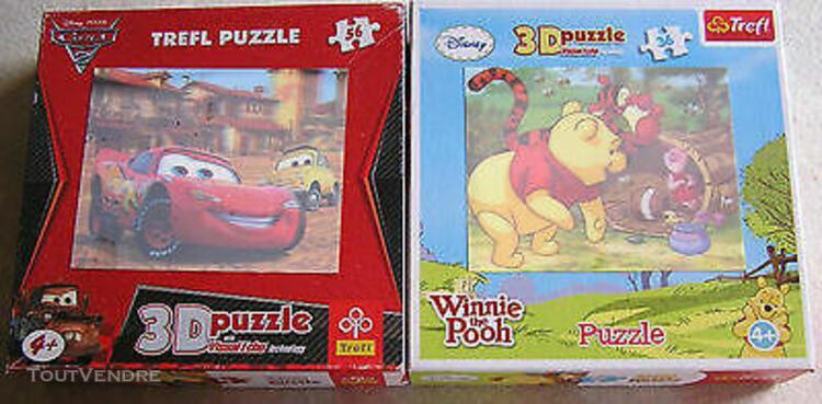 2 puzzles 36/ 56 pieces-cars/winnie l'ourson-3d puzzle-des 4