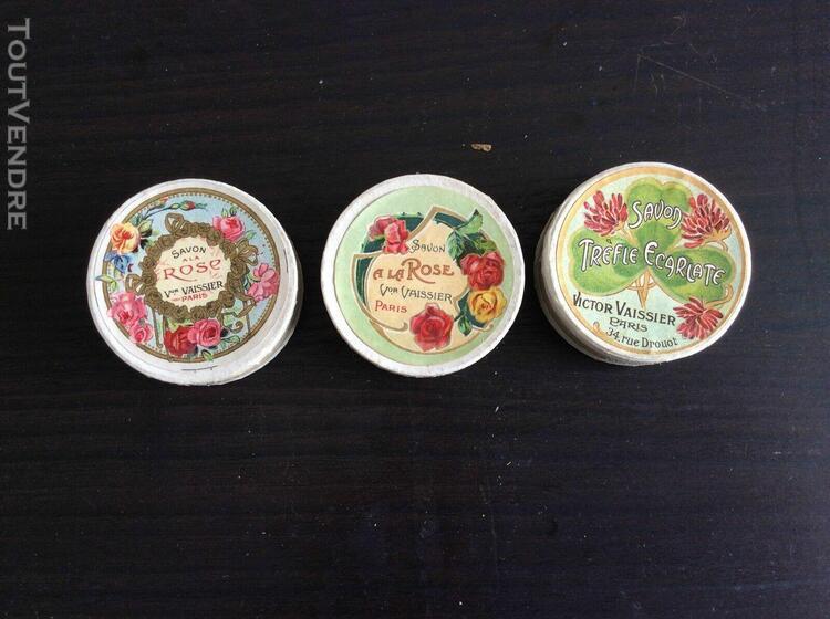 3 boites à savon avec étiquette originales anciennes