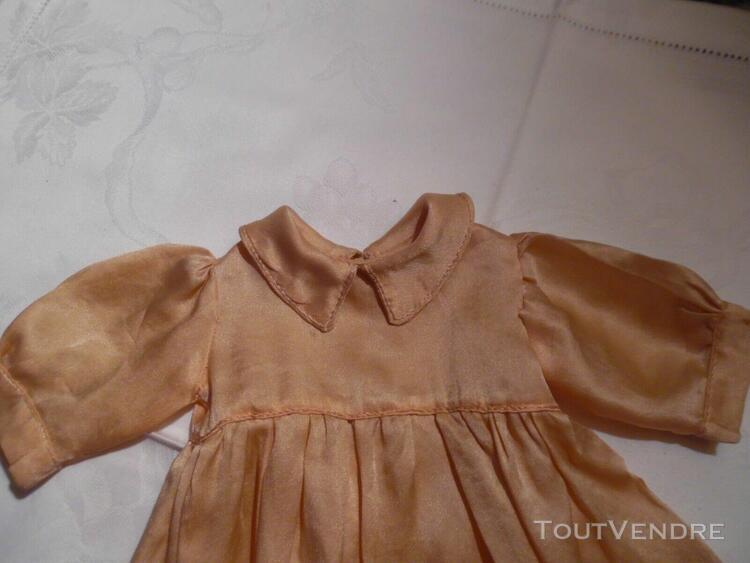 Superbe robe ancienne en soie, de poupée, sfbj unis-fran