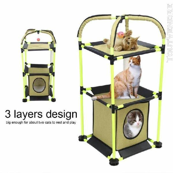 Maison de jeu 3 couches chat chaton grattoir animal de compa