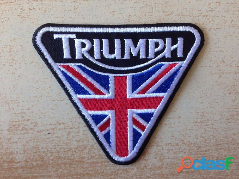 Écusson brodé patch triumph motorcycle 10x8 cm