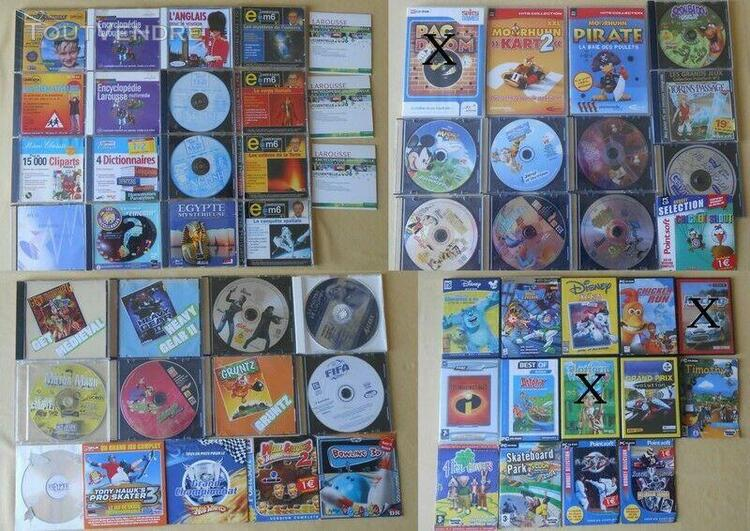 Lot de + 50 jeux pc / cd roms enfants windows