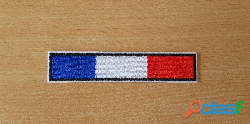 Ecusson drapeau français france barrette 13x2,5 cm