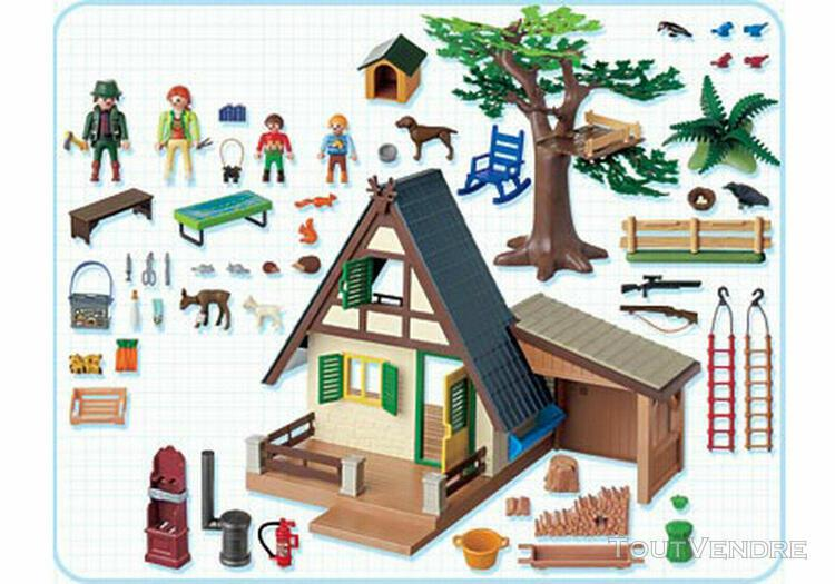 playmobil 4207 * maison forestiere famille animaux * + notic