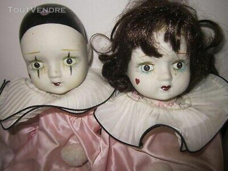 2 grandes poupées porcelaine vintage Pierrot et Colombine
