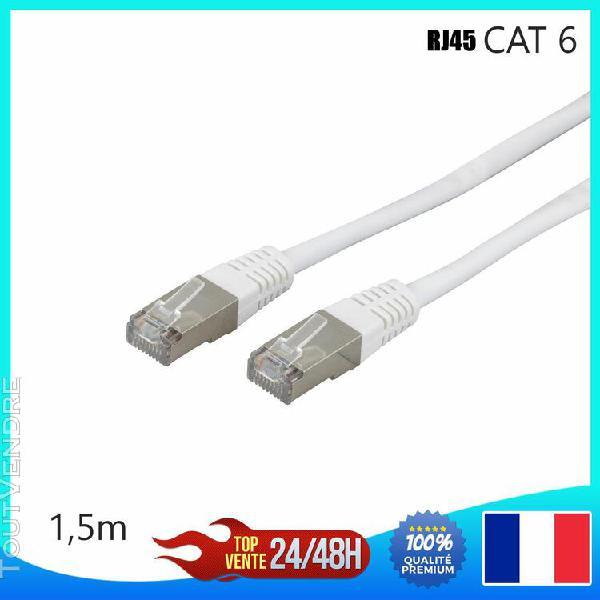 Câble réseau ethernet rj45 cat 6 u/utp blanc 1,5m gigabit
