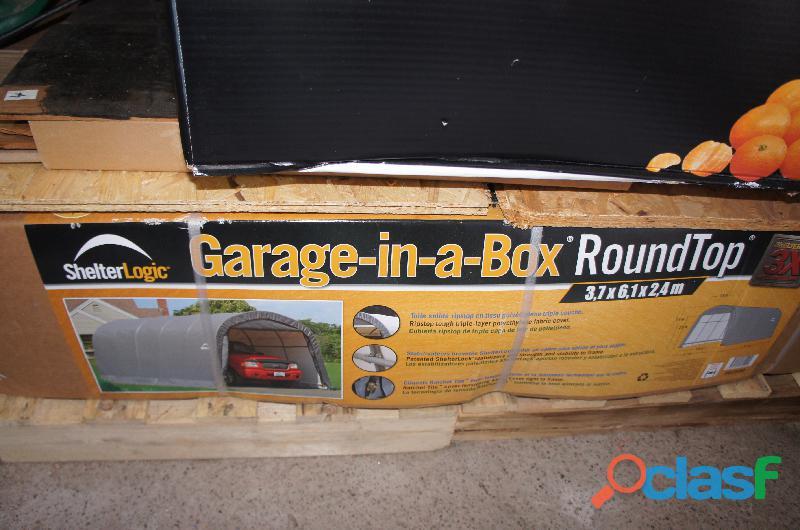 Garage (a monter) en fer avec toile polyétylène