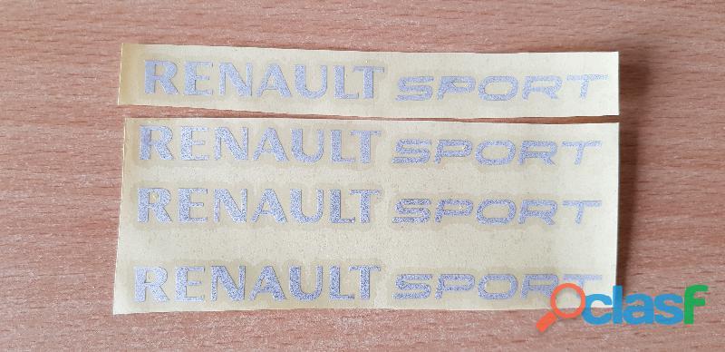 4 autocollants renault sport 12x1 cm gris réfléchissant