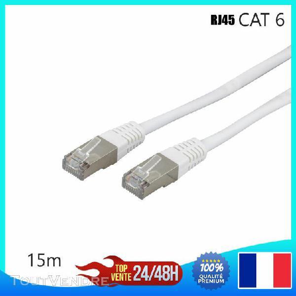 Câble réseau ethernet rj45 cat 6 u/utp blanc 15m gigabit