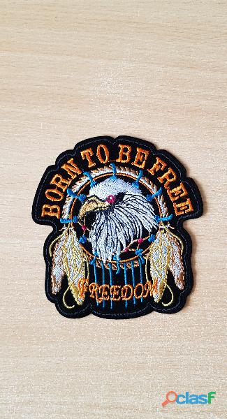 Ecusson biker motard tête d'aigle born to be free freedom
