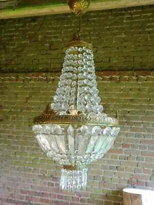 Vintage french crystal chandelier mongolfiere bag light lamp