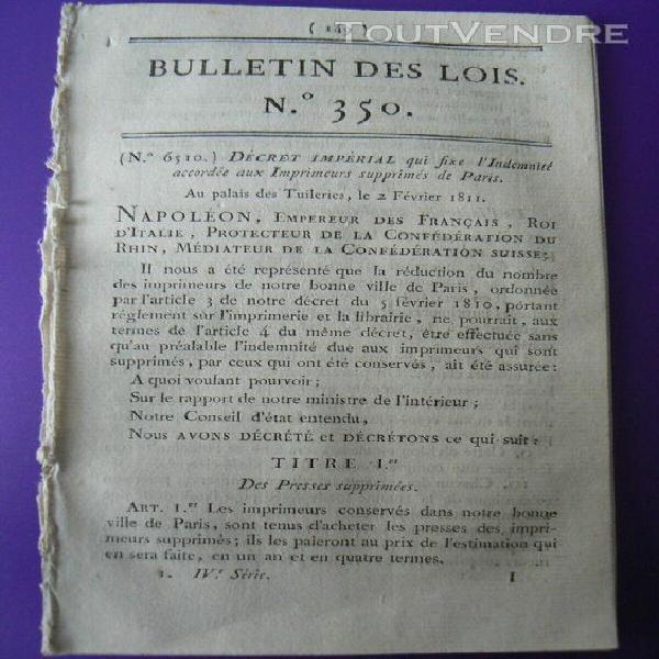 Lois 350 napoleon 1er commerce boucherie dans le departement