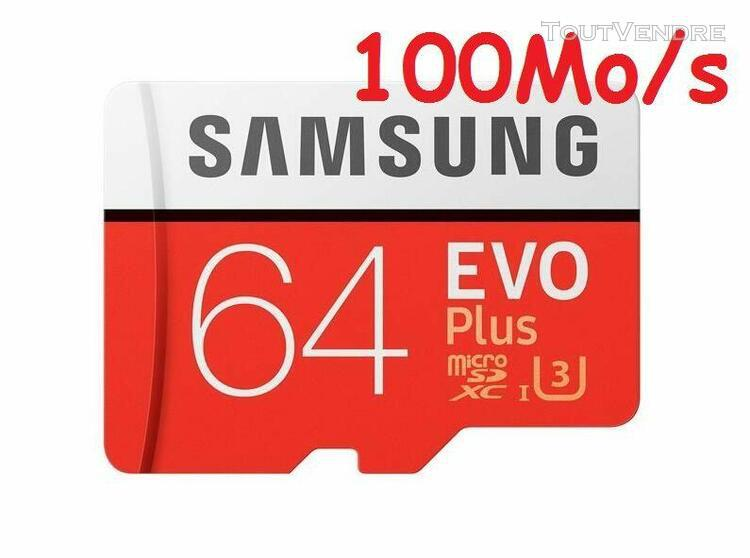 Carte mémoire micro sd sdxc samsung 64 go evo plus 100mo/s