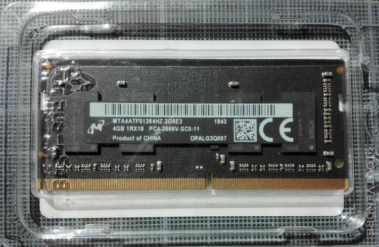 Barettes ram 8 go (2 x 4 go) — micron sodimm ddr4 2666 mhz