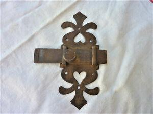 Ancien verrou de porte fer forge targette loquet 18ème